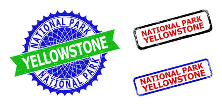 Bicolor NATIONAL PARK YELLOWSTONE seal stamps. Blue and green NATIONAL PARK YELLOWSTONE badge with sharp rosette and ribbon.