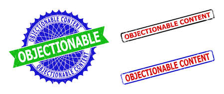 Bicolor OBJECTIONABLE CONTENT seal stamps. Green and blue OBJECTIONABLE CONTENT seal stamp with sharp rosette and ribbon. Rounded rough rectangle framed OBJECTIONABLE CONTENT stamps in red, blue,