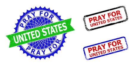 Bicolor PRAY FOR UNITED STATES seal stamps. Blue and green PRAY FOR UNITED STATES seal stamp with sharp rosette and ribbon. Rounded rough rectangular framed PRAY FOR UNITED STATES stamps in red, blue,