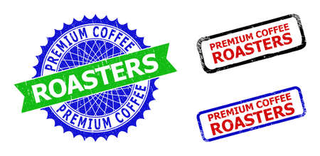Bicolor PREMIUM COFFEE ROASTERS badges. Green and blue PREMIUM COFFEE ROASTERS seal with sharp rosette and ribbon design elements.