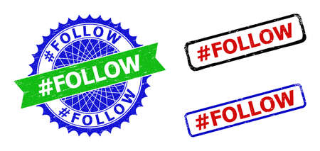 Bicolor #FOLLOW watermarks. Green and blue #FOLLOW badge with sharp rosette and ribbon. Rounded rough rectangular framed #FOLLOW watermarks in red, blue, black colors, with corroded surface.