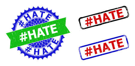 Bicolor #HATE seal stamps. Green and blue #HATE stamp with sharp rosette and ribbon. Rounded rough rectangle framed #HATE stamps in red, blue, black colors, with unclean style. Ilustracja