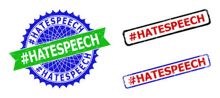 Bicolor #HATESPEECH seal stamps. Green and blue #HATESPEECH watermark with sharp rosette and ribbon design elements. Rounded rough rectangular framed #HATESPEECH stamps in red, blue, black colors,