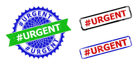 Bicolor #URGENT seal stamps. Blue and green #URGENT seal stamp with sharp rosette and ribbon design elements. Rounded rough rectangular framed #URGENT seal stamps in red, blue, black colors,