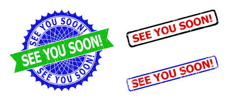 Bicolor SEE YOU SOON! seal stamps. Green and blue SEE YOU SOON! badge with sharp rosette and ribbon design elements. Rounded rough rectangle framed SEE YOU SOON! stamps in red, blue, black colors,