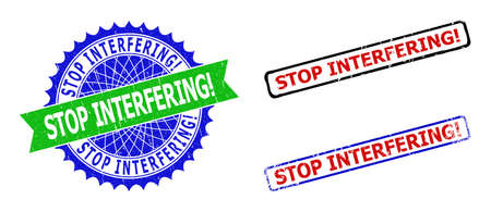 Bicolor STOP INTERFERING! seal stamps. Green and blue STOP INTERFERING! badge with sharp rosette and ribbon. Rounded rough rectangular framed STOP INTERFERING! seal stamps in red, blue, black colors,