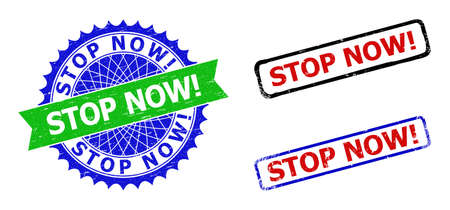 Bicolor STOP NOW! seal stamps. Blue and green STOP NOW! seal with sharp rosette and ribbon elements. Rounded rough rectangle framed STOP NOW! stamps in red, blue, black colors, with unclean texture.