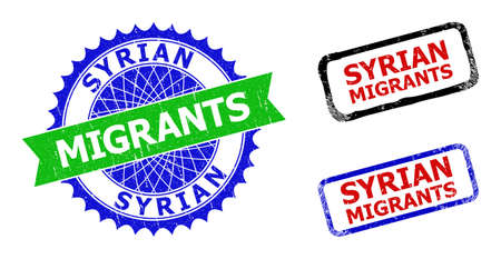 Bicolor SYRIAN MIGRANTS seals. Blue and green SYRIAN MIGRANTS stamp with sharp rosette and ribbon design elements. Rounded rough rectangular framed SYRIAN MIGRANTS seals in red, blue, black colors,