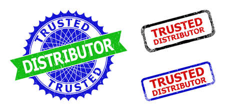 Bicolor TRUSTED DISTRIBUTOR seal stamps. Green and blue TRUSTED DISTRIBUTOR watermark with sharp rosette and ribbon design elements.