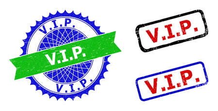 Bicolor V.I.P. seal stamps. Blue and green V.I.P. watermark with sharp rosette and ribbon. Rounded rough rectangular framed V.I.P. seal stamps in red, blue, black colors, with corroded texture. 向量圖像