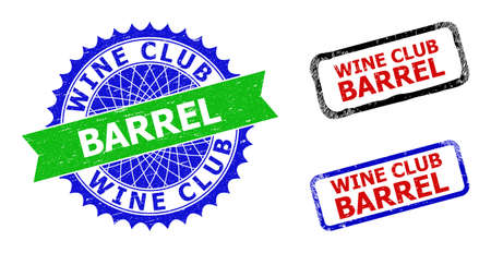 Bicolor WINE CLUB BARREL watermarks. Blue and green WINE CLUB BARREL watermark with sharp rosette and ribbon elements. Rounded rough rectangular framed WINE CLUB BARREL watermarks in red, blue,
