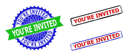 Bicolor YOURE INVITED seal stamps. Blue and green YOURE INVITED seal stamp with sharp rosette and ribbon elements. Rounded rough rectangle framed YOURE INVITED badges in red, blue, black colors,