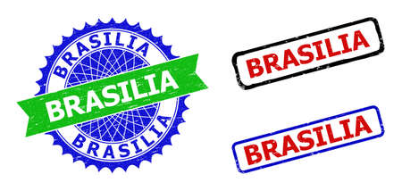 Bicolor BRASILIA stamps. Green and blue BRASILIA seal stamp with sharp rosette and ribbon design elements. Rounded rough rectangular framed BRASILIA seal stamps in red, blue, black colors,
