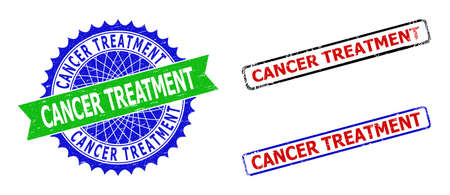Bicolor CANCER TREATMENT seal stamps. Blue and green CANCER TREATMENT stamp with sharp rosette and ribbon elements. Rounded rough rectangular framed CANCER TREATMENT seal stamps in red, blue,