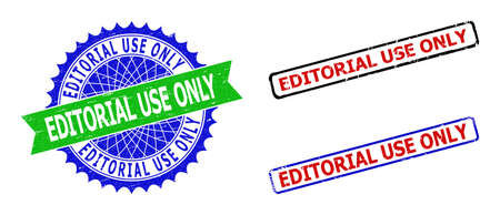 Bicolor EDITORIAL USE ONLY seal stamps. Green and blue EDITORIAL USE ONLY seal with sharp rosette and ribbon elements. Rounded rough rectangular framed EDITORIAL USE ONLY seal stamps in red, blue,