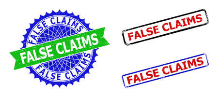 Bicolor FALSE CLAIMS stamps. Blue and green FALSE CLAIMS seal with sharp rosette and ribbon elements. Rounded rough rectangle framed FALSE CLAIMS seal stamps in red, blue, black colors, Vecteurs