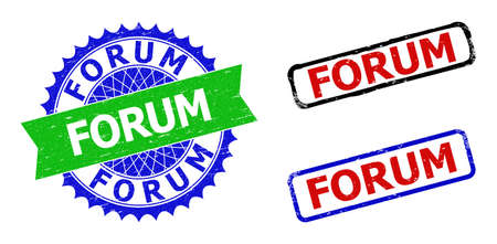 Bicolor FORUM seal stamps. Blue and green FORUM watermark with sharp rosette and ribbon elements. Rounded rough rectangular framed FORUM seal stamps in red, blue, black colors, with scratched texture.