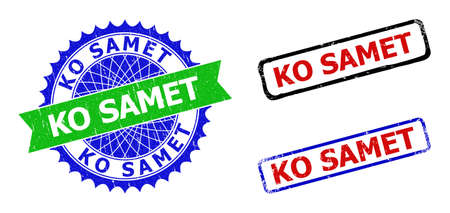 Bicolor KO SAMET seals. Blue and green KO SAMET seal stamp with sharp rosette and ribbon. Rounded rough rectangular framed KO SAMET seals in red, blue, black colors, with grunge style.