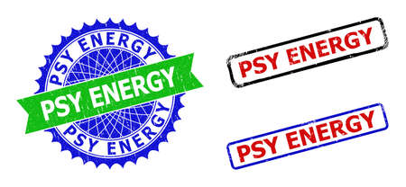 Bicolor PSY ENERGY seals. Blue and green PSY ENERGY watermark with sharp rosette and ribbon elements. Rounded rough rectangular framed PSY ENERGY seals in red, blue, black colors,