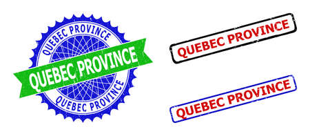 Bicolor QUEBEC PROVINCE stamps. Green and blue QUEBEC PROVINCE badge with sharp rosette and ribbon elements. Rounded rough rectangle framed QUEBEC PROVINCE stamps in red, blue, black colors,