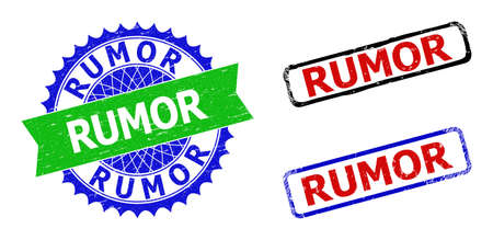 Bicolor RUMOR seal stamps. Green and blue RUMOR seal with sharp rosette and ribbon design elements. Rounded rough rectangular framed RUMOR seal stamps in red, blue, black colors, with corroded style. Ilustracja