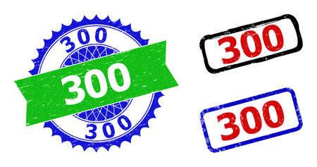 Bicolor 300 stamps. Blue and green 300 seal with sharp rosette and ribbon elements. Rounded rough rectangular framed 300 seal stamps in red, blue, black colors, with scratched surface.