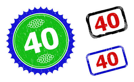 Bicolor 40 seal stamps. Blue and green 40 seal with sharp rosette and ribbon design elements. Rounded rough rectangular framed 40 seal stamps in red, blue, black colors, with scratched texture.