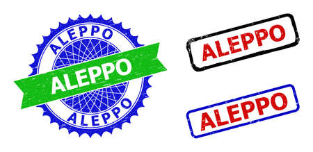 Bicolor ALEPPO seal stamps. Blue and green ALEPPO seal with sharp rosette and ribbon. Rounded rough rectangle framed ALEPPO stamps in red, blue, black colors, with grunge surface. Ilustración de vector