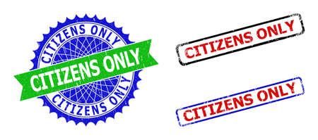 Bicolor CITIZENS ONLY seal stamps. Blue and green CITIZENS ONLY seal with sharp rosette and ribbon. Rounded rough rectangle framed CITIZENS ONLY seal stamps in red, blue, black colors,