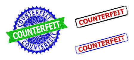 Bicolor COUNTERFEIT seals. Green and blue COUNTERFEIT seal stamp with sharp rosette and ribbon. Rounded rough rectangle framed COUNTERFEIT seals in red, blue, black colors, with distress texture.