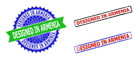 Bicolor DESIGNED IN ARMENIA seal stamps. Green and blue DESIGNED IN ARMENIA seal with sharp rosette and ribbon elements. Rounded rough rectangle framed DESIGNED IN ARMENIA seal stamps in red, blue,