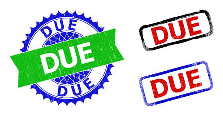 Bicolor DUE seal stamps. Blue and green DUE badge with sharp rosette and ribbon design elements. Rounded rough rectangular framed DUE seal stamps in red, blue, black colors, with grunged surface.