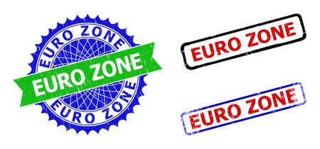 Bicolor EURO ZONE seals. Green and blue EURO ZONE seal with sharp rosette and ribbon elements. Rounded rough rectangular framed EURO ZONE seal stamps in red, blue, black colors,