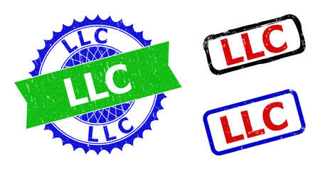 Bicolor LLC badges. Green and blue LLC stamp with sharp rosette and ribbon design elements. Rounded rough rectangular framed LLC badges in red, blue, black colors, with scratched style. Vector Illustration