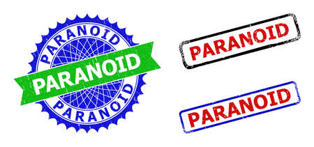 Bicolor PARANOID badges. Green and blue PARANOID stamp with sharp rosette and ribbon design elements. Rounded rough rectangular framed PARANOID badges in red, blue, black colors,