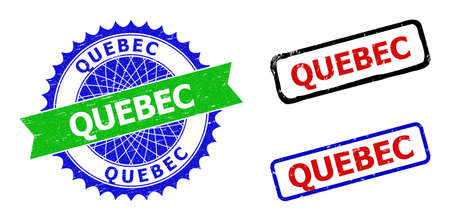 Bicolor QUEBEC seal stamps. Green and blue QUEBEC stamp with sharp rosette and ribbon design elements. Rounded rough rectangular framed QUEBEC stamps in red, blue, black colors, with unclean style.