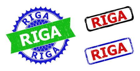 Bicolor RIGA seal stamps. Green and blue RIGA seal stamp with sharp rosette and ribbon. Rounded rough rectangular framed RIGA seal stamps in red, blue, black colors, with unclean surface. Ilustración de vector