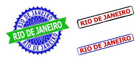 Bicolor RIO DE JANEIRO stamps. Green and blue RIO DE JANEIRO seal stamp with sharp rosette and ribbon. Rounded rough rectangle framed RIO DE JANEIRO seal stamps in red, blue, black colors,