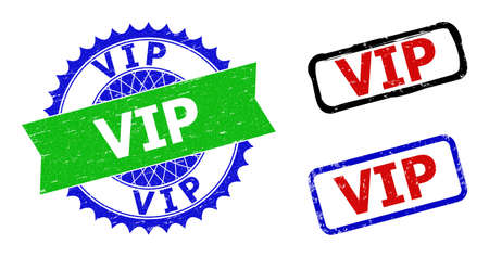 Bicolor VIP seal stamps. Blue and green VIP stamp with sharp rosette and ribbon. Rounded rough rectangular framed VIP seal stamps in red, blue, black colors, with unclean surface.