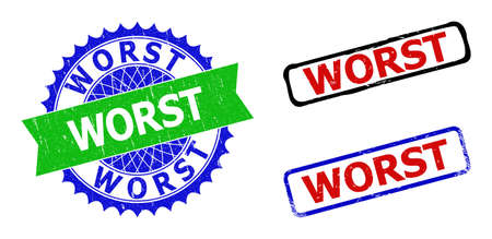 Bicolor WORST stamps. Green and blue WORST watermark with sharp rosette and ribbon elements. Rounded rough rectangle framed WORST stamps in red, blue, black colors, with scratched texture.