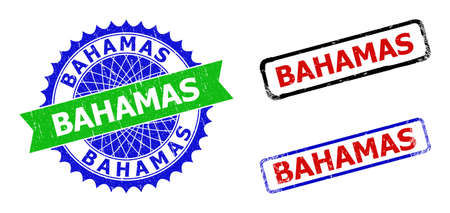 Bicolor BAHAMAS seal stamps. Blue and green BAHAMAS seal stamp with sharp rosette and ribbon elements. Rounded rough rectangular framed BAHAMAS seal stamps in red, blue, black colors,