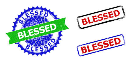Bicolor BLESSED seal stamps. Blue and green BLESSED badge with sharp rosette and ribbon design elements. Rounded rough rectangular framed BLESSED seal stamps in red, blue, black colors,