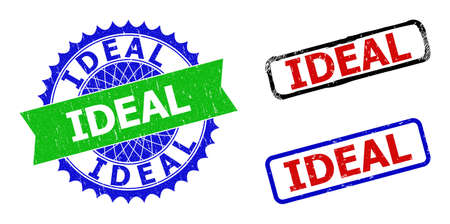 Bicolor IDEAL badges. Blue and green IDEAL seal with sharp rosette and ribbon design elements. Rounded rough rectangle framed IDEAL seal stamps in red, blue, black colors, with corroded surface.