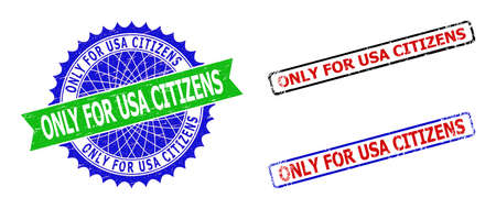 Bicolor ONLY FOR USA CITIZENS seal stamps. Green and blue ONLY FOR USA CITIZENS badge with sharp rosette and ribbon. Rounded rough rectangular framed ONLY FOR USA CITIZENS seal stamps in red, blue,