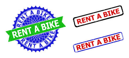 Bicolor RENT A BIKE stamps. Green and blue RENT A BIKE seal with sharp rosette and ribbon. Rounded rough rectangle framed RENT A BIKE seal stamps in red, blue, black colors, with corroded surface.