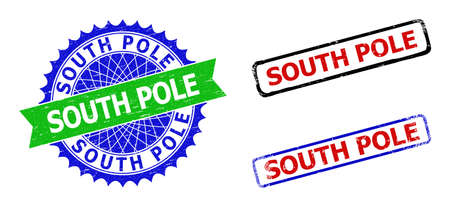 Bicolor SOUTH POLE seal stamps. Blue and green SOUTH POLE seal with sharp rosette and ribbon elements. Rounded rough rectangle framed SOUTH POLE stamps in red, blue, black colors,