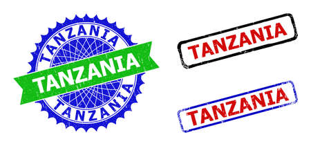 Bicolor TANZANIA stamps. Blue and green TANZANIA watermark with sharp rosette and ribbon elements. Rounded rough rectangle framed TANZANIA stamps in red, blue, black colors, with grunge texture. Ilustração