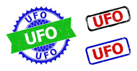 Bicolor UFO stamps. Green and blue UFO seal stamp with sharp rosette and ribbon design elements. Rounded rough rectangular framed UFO seal stamps in red, blue, black colors, with grunged style.