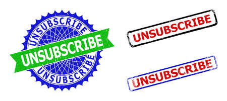 Bicolor UNSUBSCRIBE stamps. Blue and green UNSUBSCRIBE seal with sharp rosette and ribbon elements. Rounded rough rectangle framed UNSUBSCRIBE seal stamps in red, blue, black colors,