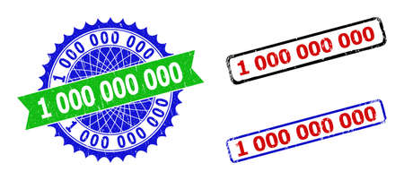 Bicolor 1000000000 stamps. Blue and green 1000000000 watermark with sharp rosette and ribbon. Rounded rough rectangle framed 1000000000 stamps in red, blue, black colors, with grunged surface.